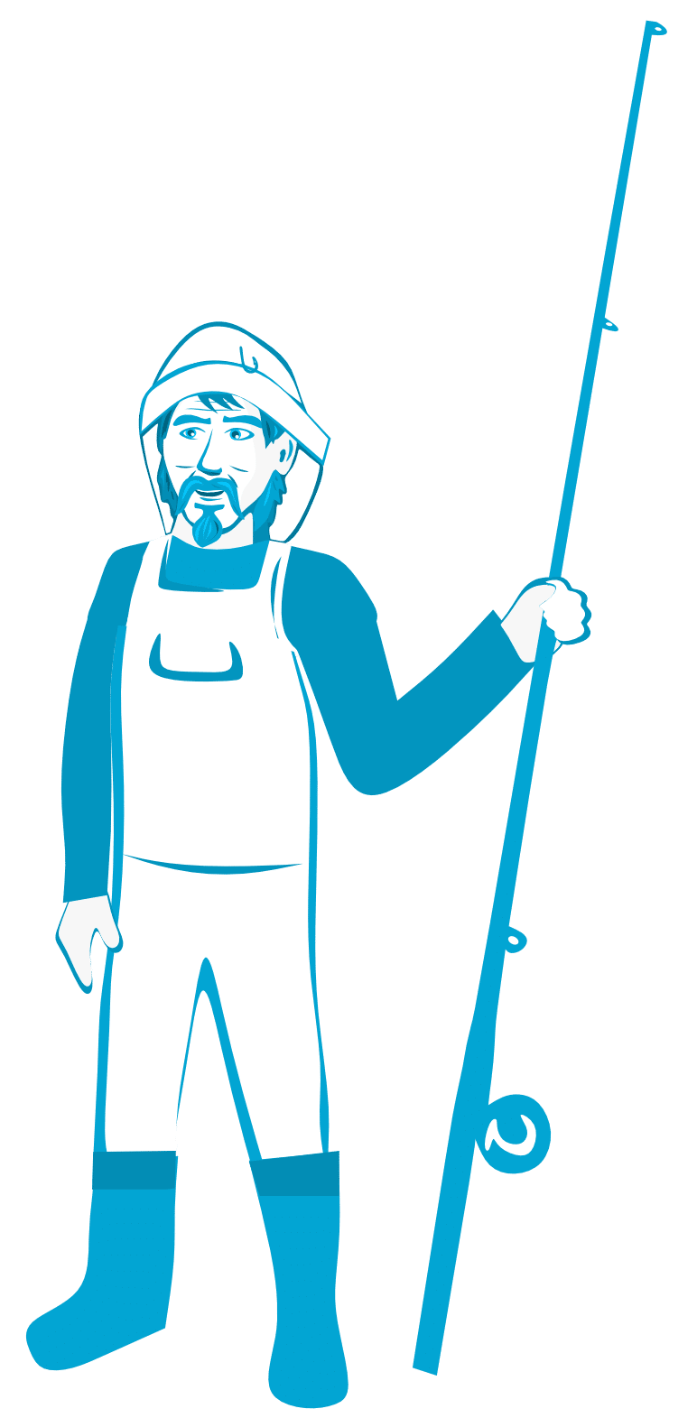 Stehender Angler mit Rute